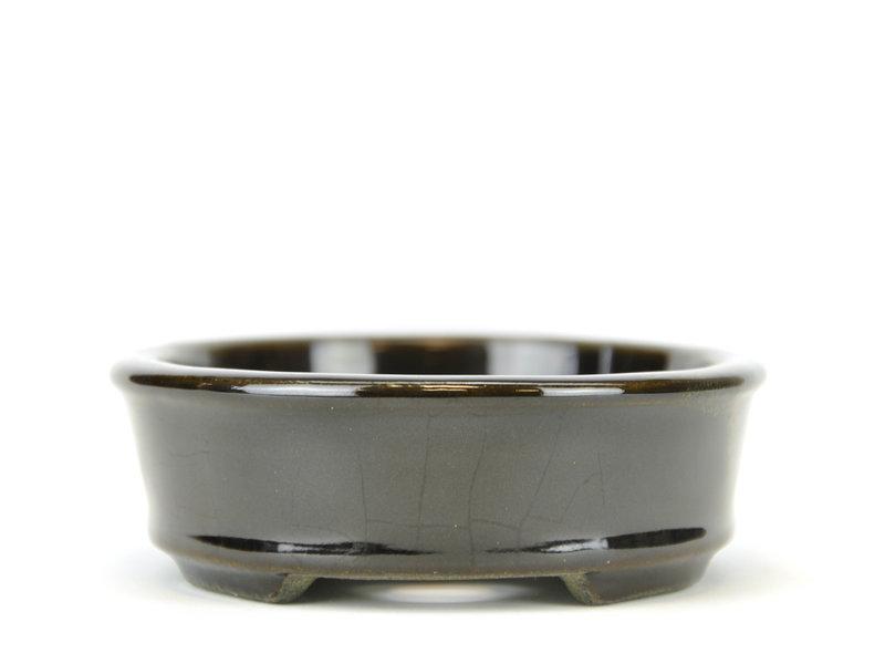 Oval black bonsai pot by Terahata Satomi Mazan - 135 x 111 x 37 mm