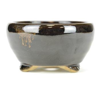 121 mm round black bonsai pot by Terahata Satomi Mazan, Tokoname, Japan