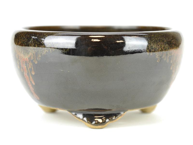 Round black bonsai pot by Terahata Satomi Mazan - 125 x 125 x 65 mm