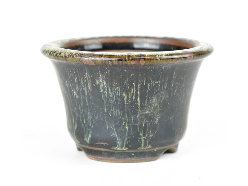 Ronde zwarte Kyushu bonsaipot - 113 x 113 x 70 mm
