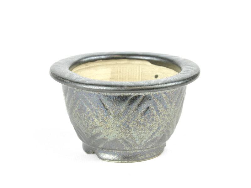 Ronde grijze Sa Ra Ku bonsaipot - 106 x 106 x 60 mm