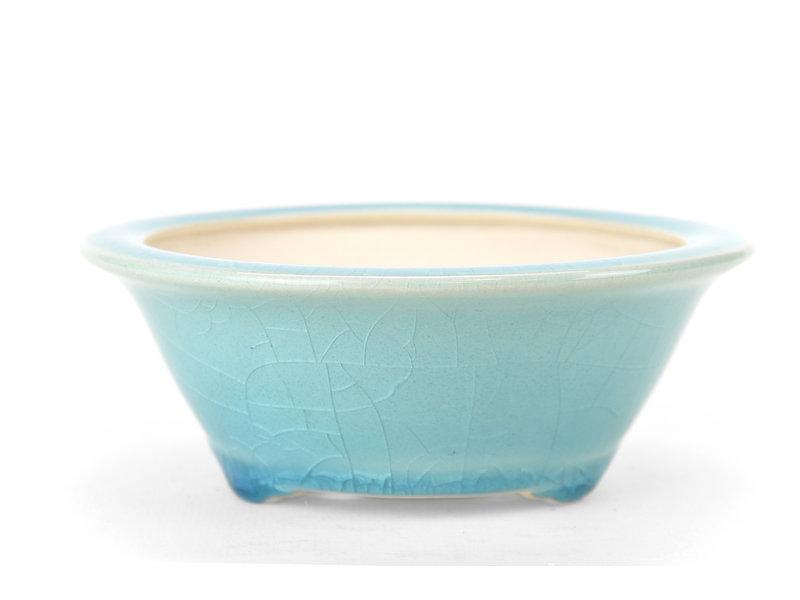 Ronde blauwe bonsaipot - 131 x 131 x 50 mm