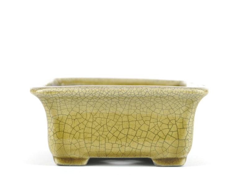 Rechthoekige beige bonsaipot van Terahata Satomi Mazan - 160 x 137 x 62 mm