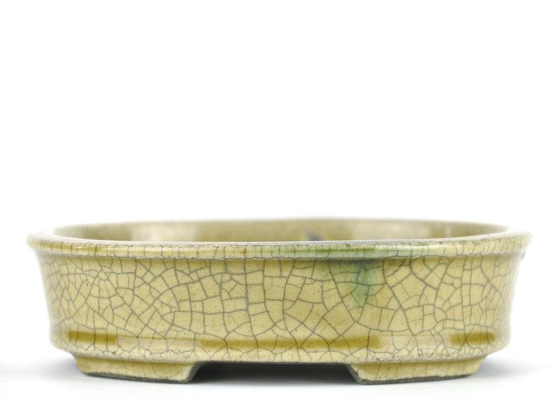 Ovale beige bonsaipot van Terahata Satomi Mazan - 135 x 110 x 38 mm
