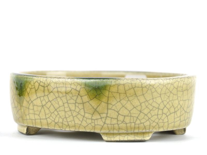 Ovale beige bonsaipot van Terahata Satomi Mazan - 160 x 130 x 52 mm