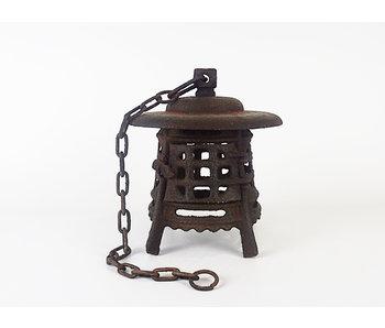 Japanse antieke metalen lantaarn Sokonuke Tsuridōrō 29 cm