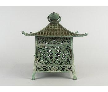 Japanese Antique Metal Lantern Midori no Kokoro Tsuridōrō 29 cm