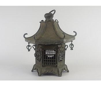 Japanse antieke metalen lantaarn Ryūgū Tsuridōrō 38 cm