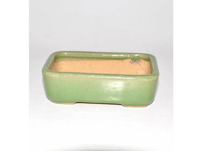 Bonsai pot green 14 cm Hattori Tokoname