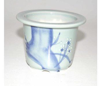 Round celadon bonsai pot