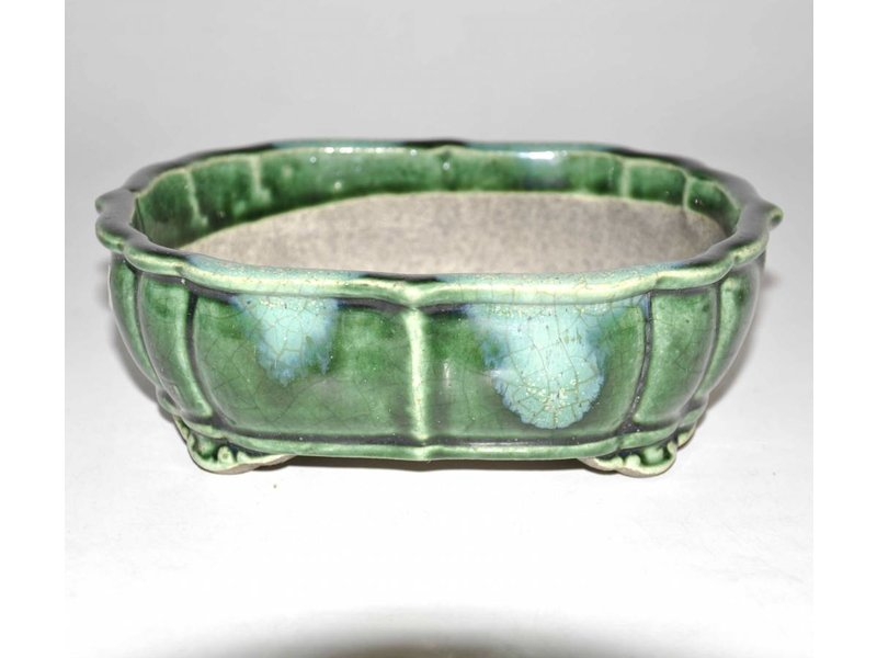 Green, Oval lotus shape bonsai pot