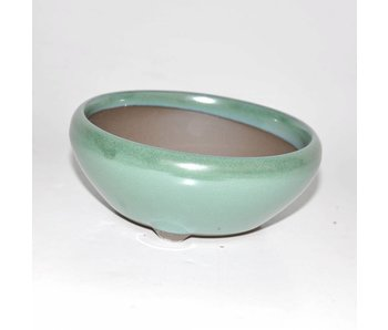 Bonsai pot green 13 cm Seto Yaki