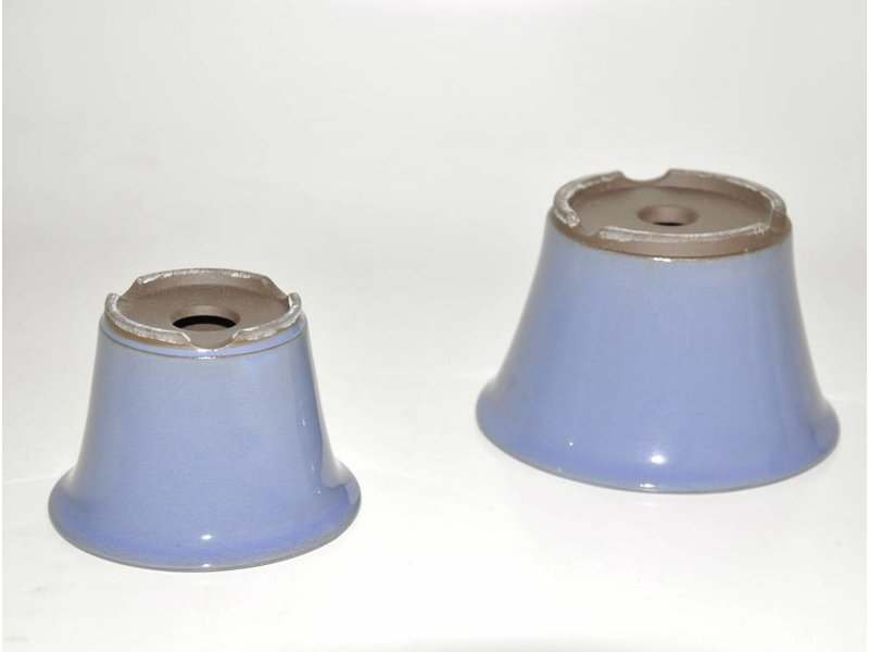 Set of two light blue pots