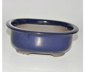 Bonsai pot blue 18 cm Seto Yaki