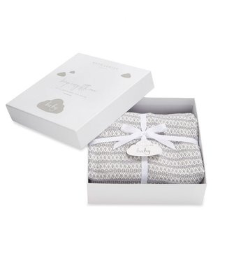 Katie Loxton Cotton knitted baby blanket in grey