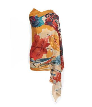 Powder Luxurious Watercolour Pheasant Scarf