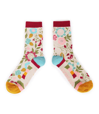 Powder Autumn Floral Ankle Socks