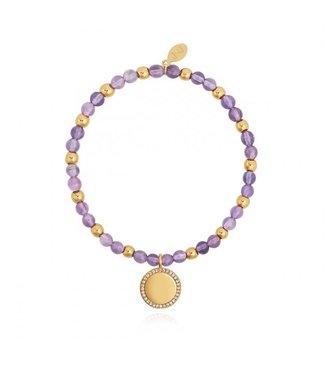 Joma Jewellery Wellness Gems Amethyst Stretch Bracelet