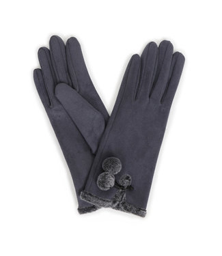 Powder Amelia Faux Suede Gloves Charcoal