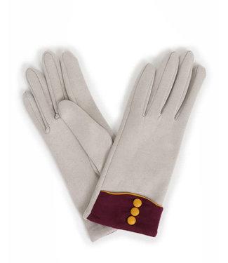 Powder Cassie Faux Suede Gloves Pale Grey