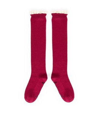 Powder Raspberry Lace Top Knee High Socks