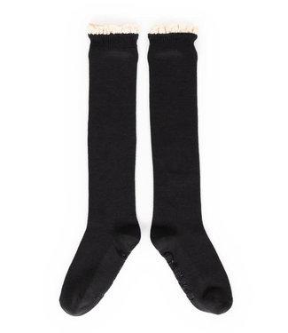 Powder Charcoal Lace Top Knee High Socks