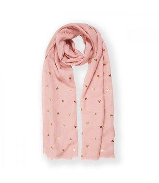 Katie Loxton Metallic Heart Scarf in Pink