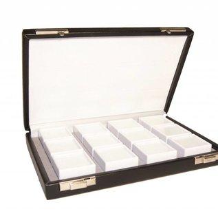 case content 12 glass lid boxes, half size