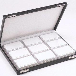 Etui mit 9 Kunststoffdosen für Edelsteine