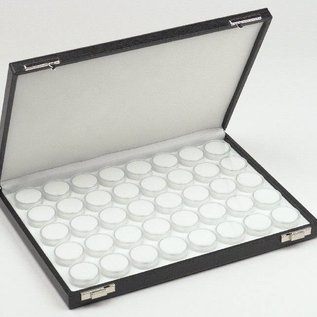 Etui mit 40 runden Kunststoffdosen für Edelsteine