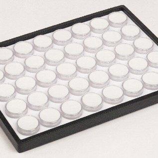 Schiebelade mit 40 runden Kunststoffdosen für Edelsteine