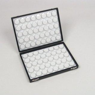 Etui mit 80 runden Kunststoffdosen für Edelsteine