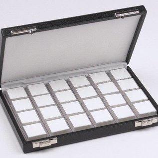 Etui mit 24 Kunststoffdosen für Edelsteine, halbe Größe