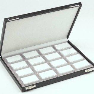 Etui mit 16 Kunststoffdosen für Edelsteine