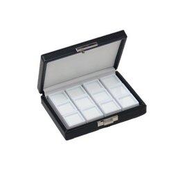 case content 12 glass lid boxes, quarter size