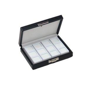 Etui mit 12 Glasdeckeldosen für Edelsteine, viertel Größe