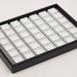 Stapellade mit 42 Glasdeckeldosen für Edelsteine