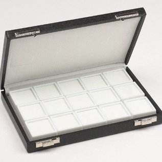case content 15 glass lid boxes, half size