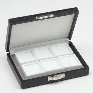 Etui mit 6 Glasdeckeldosen, viertel Größe