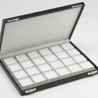 Case content 24 glass lid boxes for gemstones