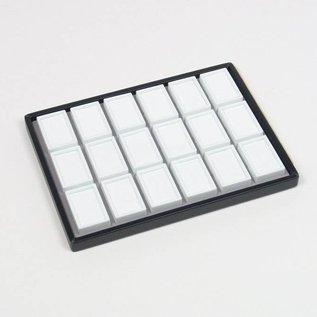 Schiebelade mit 18 Glasdeckeldosen