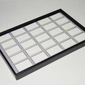 Stacking tray with 25 boxes