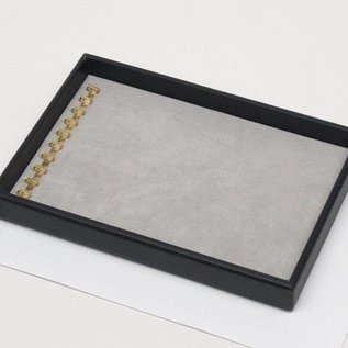 Stacking tray with hooks on short side