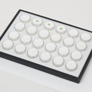 Sliding tray with 24 plastic boxes
