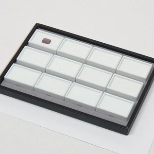 Sliding tray with 12 glas topped boxes