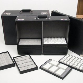 Sample case with metal corner pieces and racks for sliding trays