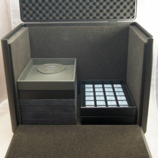 Aluminium sample case double with caddy for jewelry or gemstones