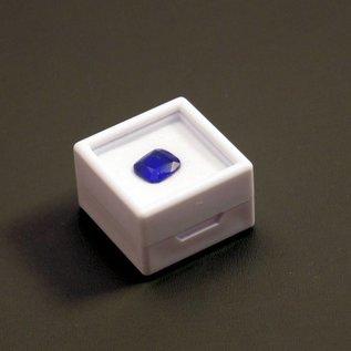 Glasdeckeldose 28x28x19mm mit Flockschaumeinlage, für Edelsteine