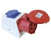 CEE wandcontactdoos voor buiten 5-polig 32A voor veilig laden met 32A/22kW thuislader