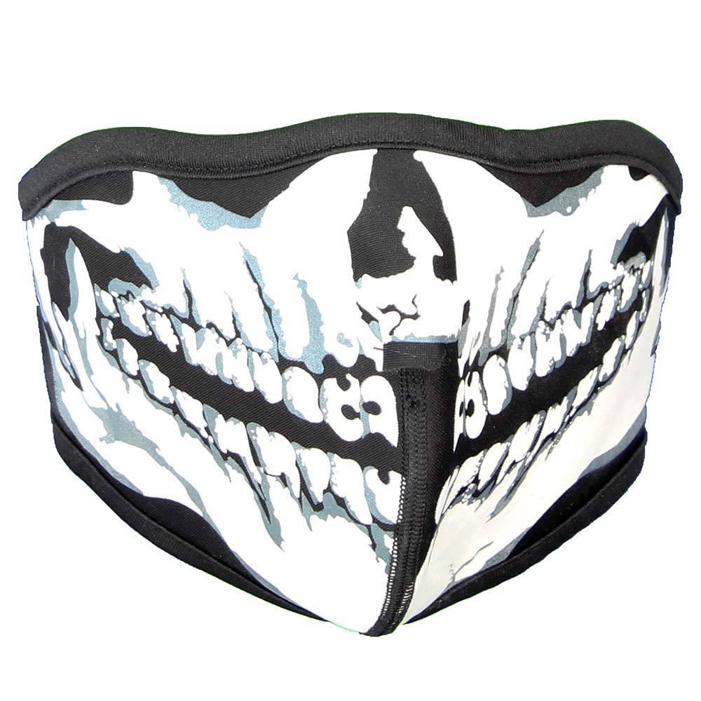 Facemasks Mondkap Skimasker Zwart/ Skeleton Skull Print Zwart/Wit